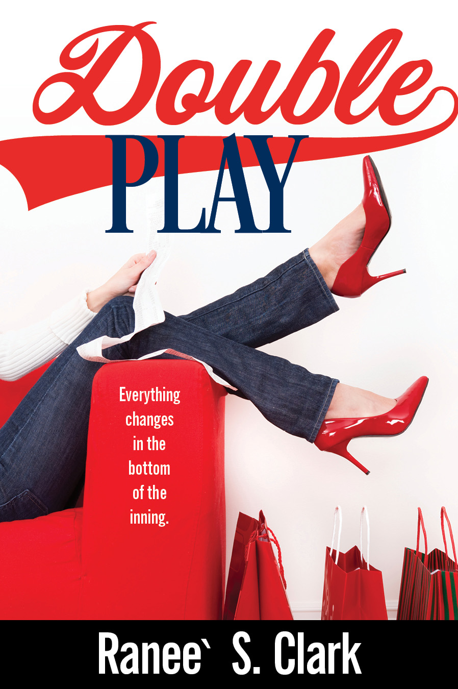 Double Play book cover: the legs of a woman propped up on a red couch, wearing red heels, and red shopping bags on the floor next to the couch