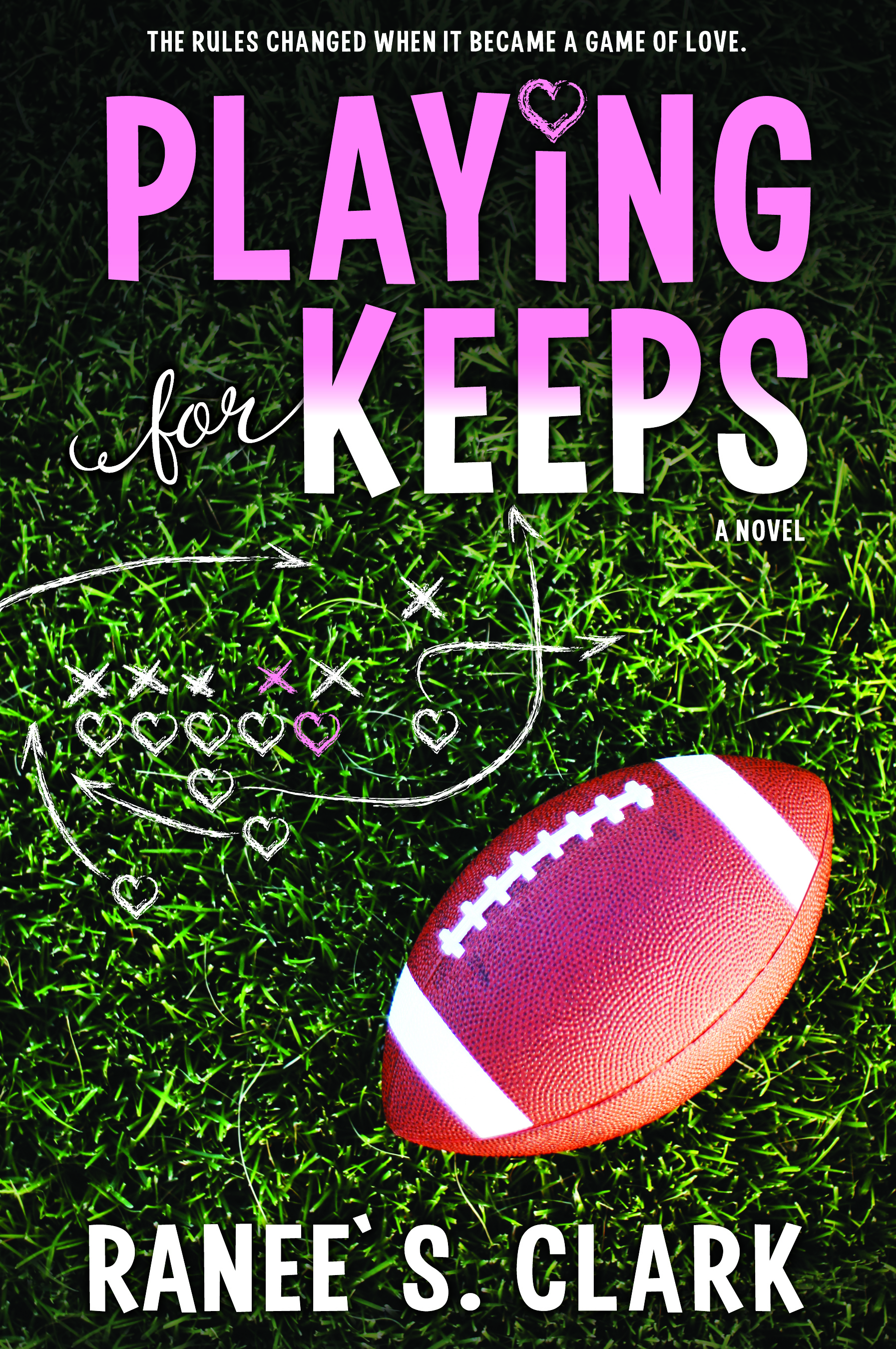 Playing for Keeps COVER: Football, play sketch with hearts and exes