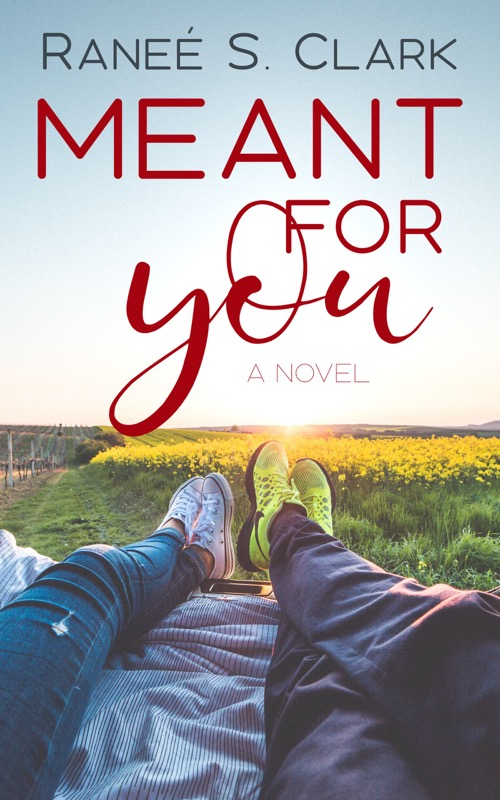 Meant for You book cover: the legs of a couple hanging out the back of a car overlooking a field with yellow flowers.